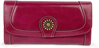 AINIMOER Women's Large Leather Vintage Clutch Wallet Long Card Case Organizer Zippered Purse