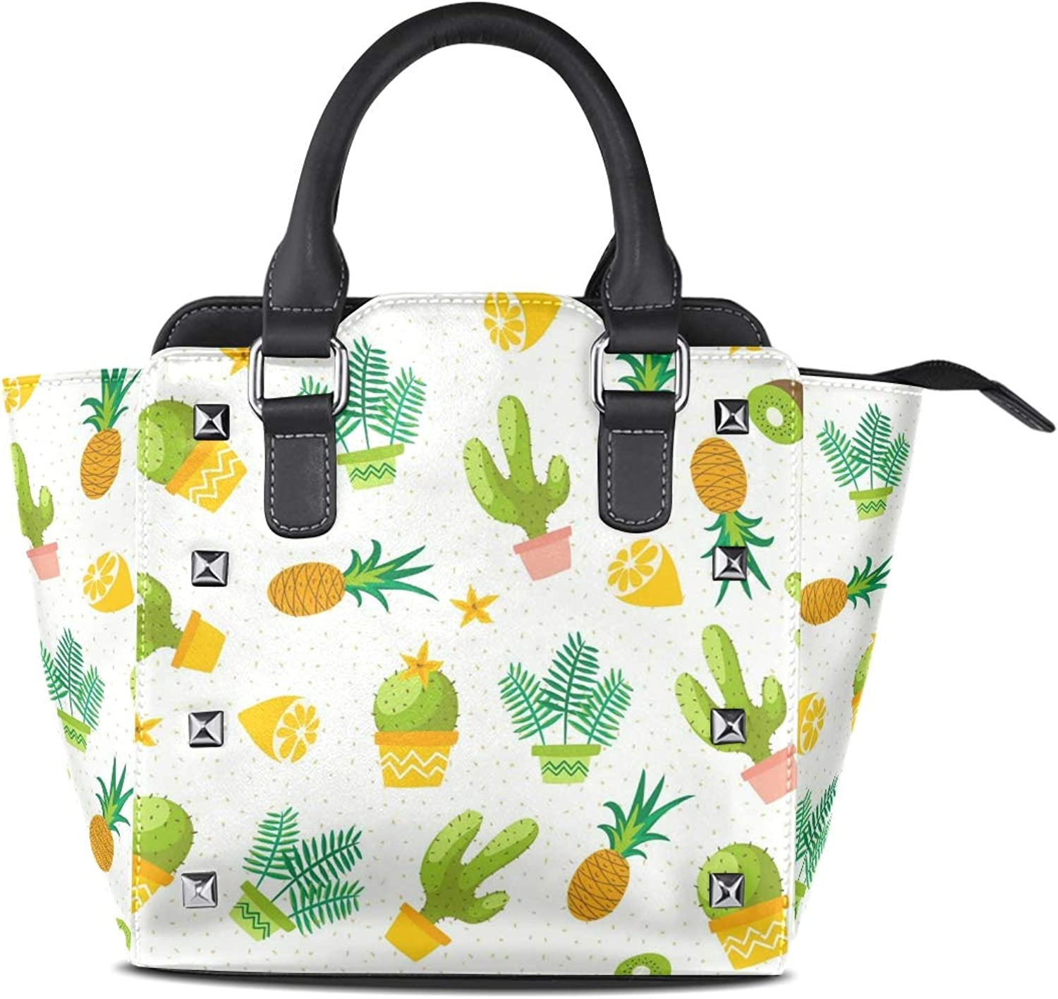 My Little Nest Women's Top Handle Satchel Handbag Cacti Ladies PU Leather Shoulder Bag Crossbody Bag