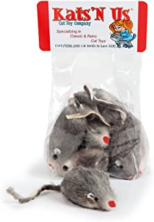 Kats'N Us Real Rabbit Fur Mouse Cat Toy - 10 Pak - Hard Body