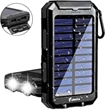 Solar Charger, F.Dorla 10000mAh Portable Solar Power Bank, Dual 5V USB Ports Output, Waterproof, Camping External Backup Battery Pack, 2 Led Light Flashlight with Compass for iOS Android (Black)