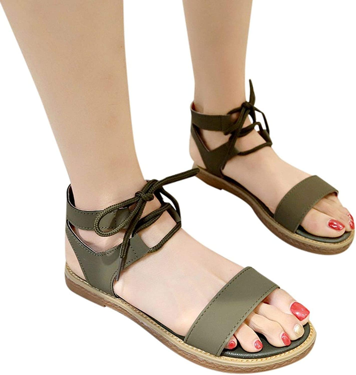 FINDYOU Women's Sandals Ankle Straps Summer Rome Beach Casual Low Heels Peep Toe Sandal Retro Wimen Leather shoes New