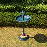 Better Garden 35 Inch Height Polyresin Lightweight Antique Outdoor Garden Bird Bath, Green