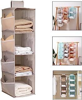 étagère Suspendue Pliable, 4-Shelf Hanging Closet Organizer, étagère Suspendue Murale avec 12 Side Mesh Pockets, étagère S...