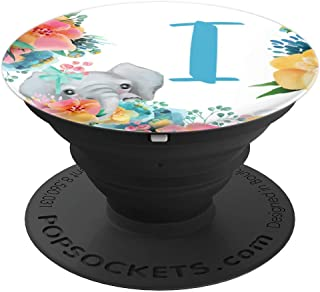 Pretty Baby Elephant With Flowers Monogram Initial Letter I - PopSockets Grip and Stand for Phones and Tablets