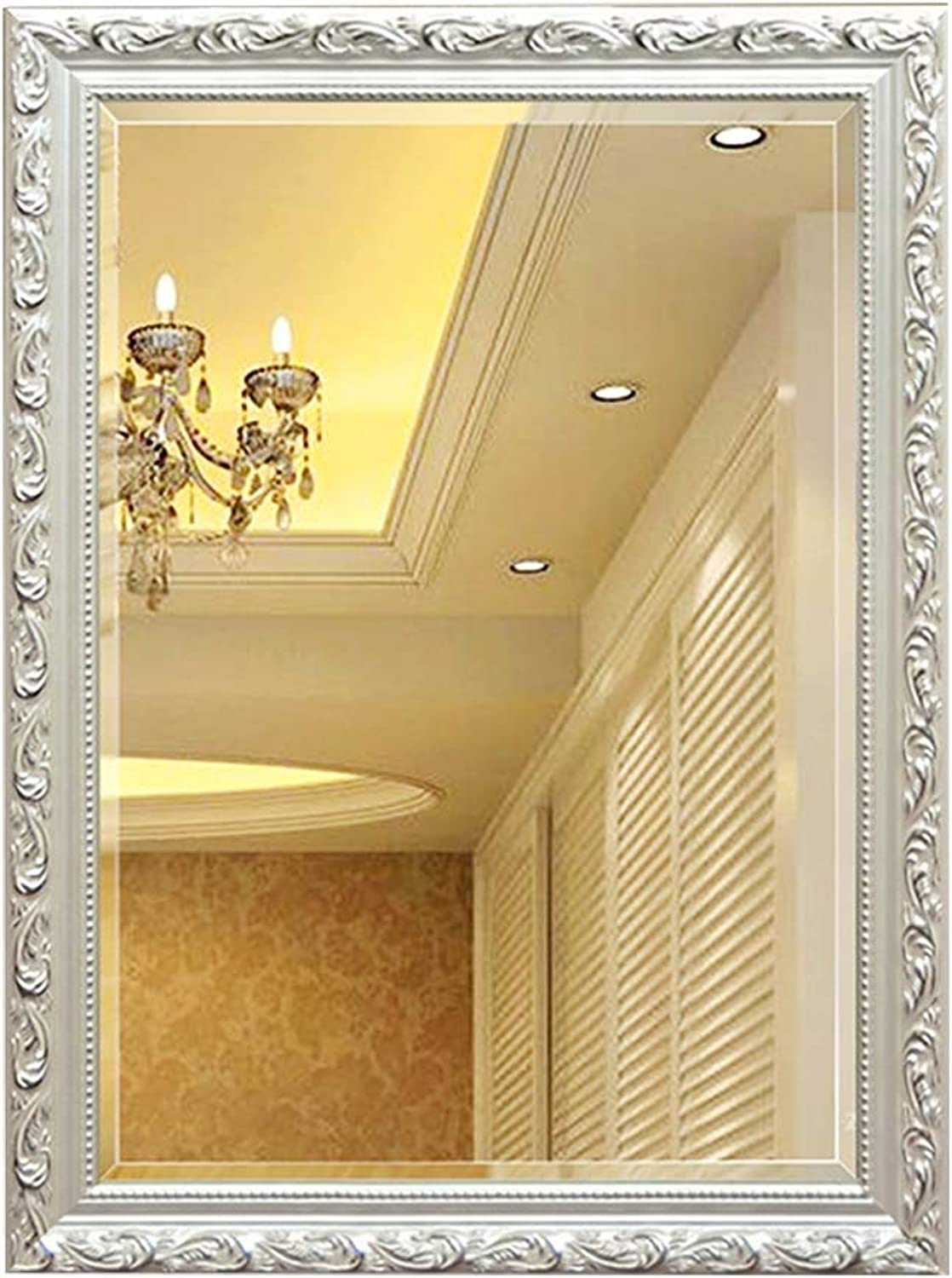 Mirror Wall Hanging Mirror White Wooden Frame Bathroom Mirror European Bathroom Bathroom Mirror Wall Hanging Makeup Mirror Home Square Mirror HD (color   White, Size   60  45cm)