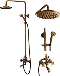 Bath Shower Faucet Set Complete Antique Brass Finish Wall Mount with 8