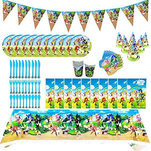INTVN 88 Piezas Sonic The Hedgehog Party Supplies Juego de decoración Suministros...