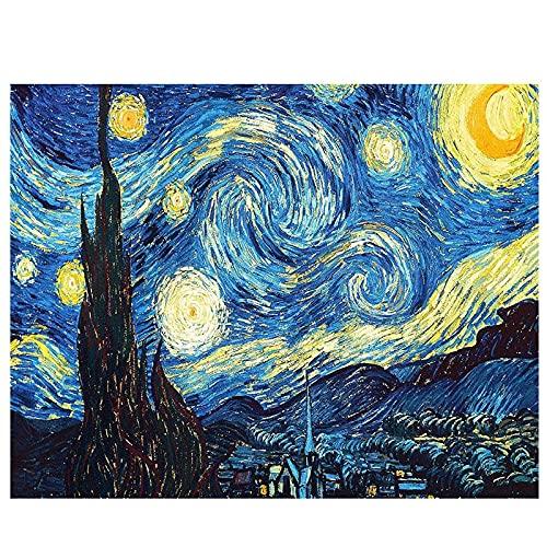 LIZHIOO Van Gogh Starry Night Diamond Painting, Bordado Kits De Punto De Cruz Abstracto Pintura Resina Diamante Pintura Mosaico Artesanía (Size : Round 50x65cm)