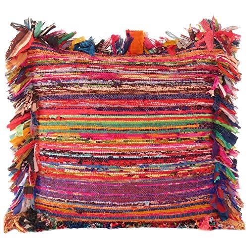 Eyes of India - Colorato Chindi Tappeto di Stracci Divano Divano Federa Cuscino Colorato Decorativo Copriletto Bohémien Accento Indiano Boho Chic Fatto a Mano Cover