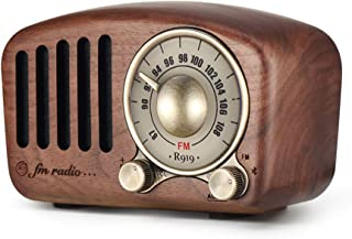 Vintage Radio Retro Bluetooth Speaker - Mifine Walnut Wooden FM Radio with Old Fashioned Classic Style, Strong Bass Enhancement, Loud Volume, Supports Bluetooth 4.2 AUX TF Card MP3 Player (Walnut)