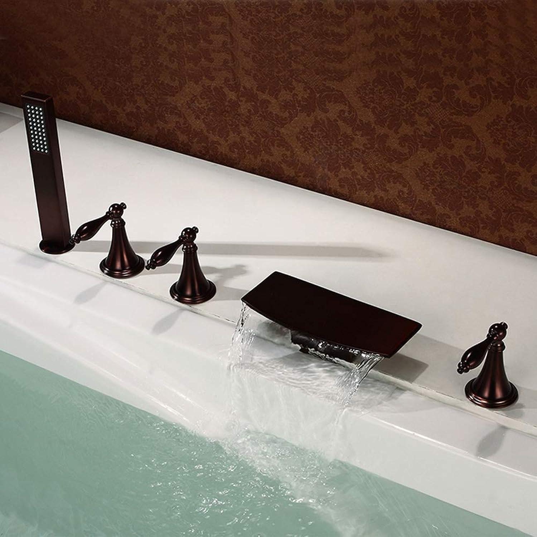 CGGDP Einfache Badewanne Duschkopf, High-End-verchromt ORB Bronze Waschbecken Wasserhahn, Bleifrei fünf Gift. dehnbar