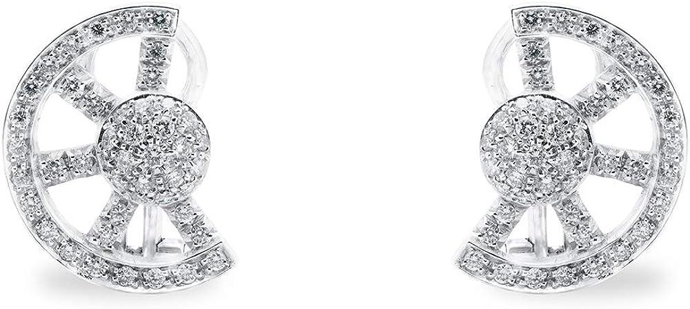 B.&c. gioielli orecchini donna froma mezza ruota in oro bianco 18 kt (750) e diamanti taglio brillante gvs orecchini06
