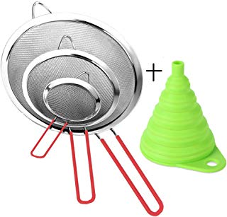 Stainless Steel Fine Mesh Strainer Colander Sieve Sifters with Sturdy Silicone Handle, Free Bonus Silicone Foldable Funnel for kitchen Tea Coffee Powder Fry Juice Vegetable Fruit Silver 3 Pack