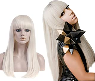 SARLA Blonde Cosplay Wig with Bangs for Women Lady Gaga Costume Synthetic Long Straight Natural Cosplay Costumes Party Halloween Hair Full Wigs (Lw014) …