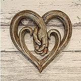 Decoración de Pared de corazón agarrados de la Mano, decoración de Pared de Madera de imitación, esculturas de Pared de corazón de Madera de Forever Love, Adornos de Pared de Madera artesanales-Small