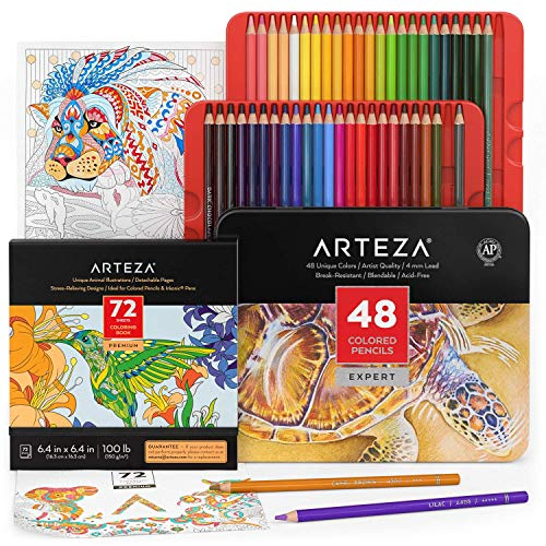 Arteza Animal Coloring Art Set, Colored Pencils 48 and Animal Coloring Book with 72 Unique Designs, Art Supplies for Relaxation and Stress Relief