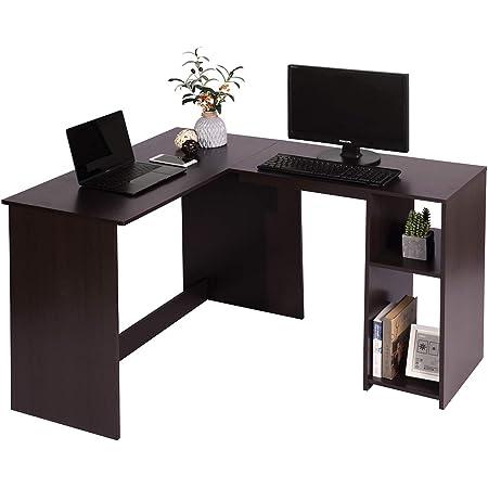 MEUBLE COSY d'ordinateur avec étagère de Rangement, Table de Bureau à Domicile Station de Travail en Bois, Marron, 120x100x75cm