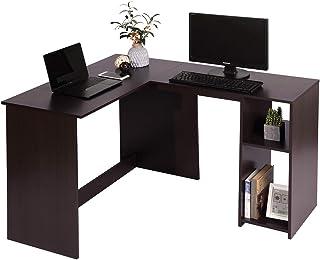 MEUBLE COSY Bureau d'ordinateur avec étagère de Rangement, Table de Bureau à Domicile Station de Travail en Bois , Marron ...