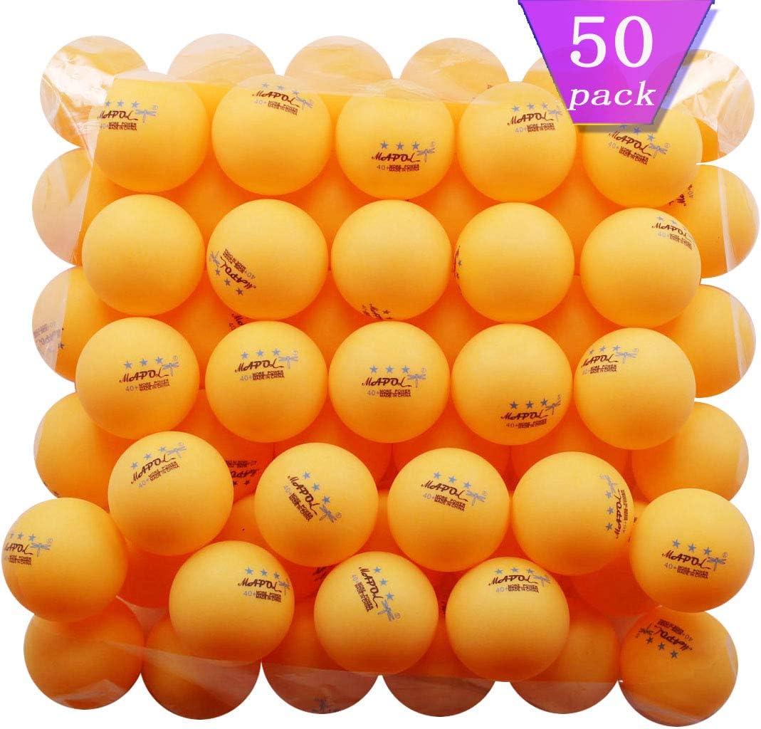 MAPOL Pack de 50 pelotas de ping pong de 3 estrellas, color naranja