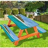 LEWIS FRANKLIN cortina de ducha isla picnic mesa y bancos, impresionante mantel de borde elástico...