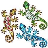 Maansfy Metal Lizard Wall Decor Mosaic Glass Art Gecko Sculpture Hanging Decorations Set of 3 for Home Garden Bedroom Patio