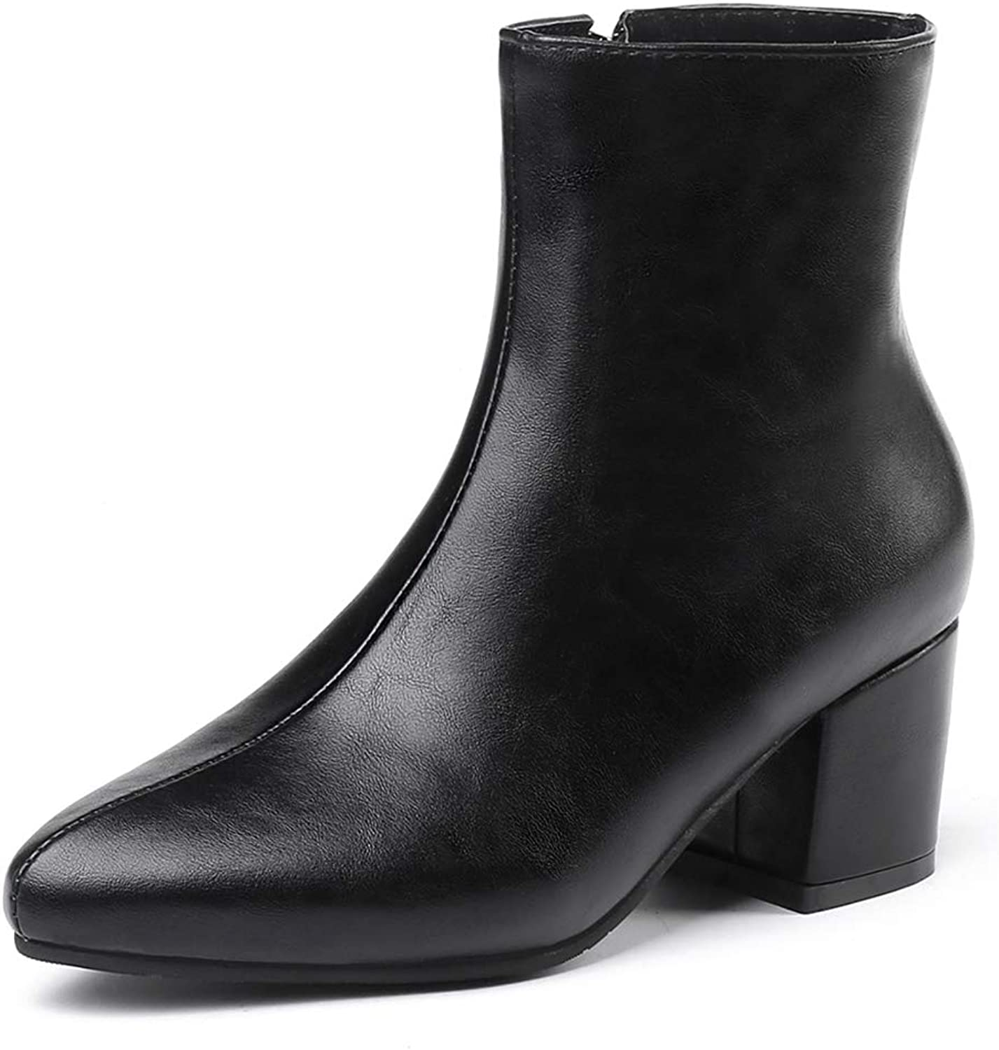 Chunky High Heels Ankle Boots Woman Zip Fur Warm Winter Pointed Toe Booties