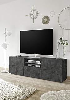Arredocasagmb.it Mobile Porta TV Contenitore Moderno Bianco Lucido Effetto Cemento Legno Antico Nero Lucido Soggiorno Moderno Inserto Alto Effetto Cemento