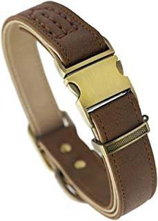 Fourhorse Basic Classic Luxury Padded Leather Dog Collar,The Seatbelt Buckle,Soft and Comfort,for Large Medium Small Pets