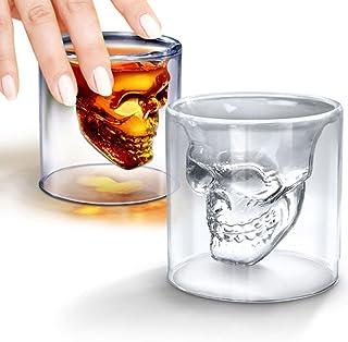 スカル ショットグラス ガラス製 カップ 飲み 容器 パーティー ドリンク用 (2個)