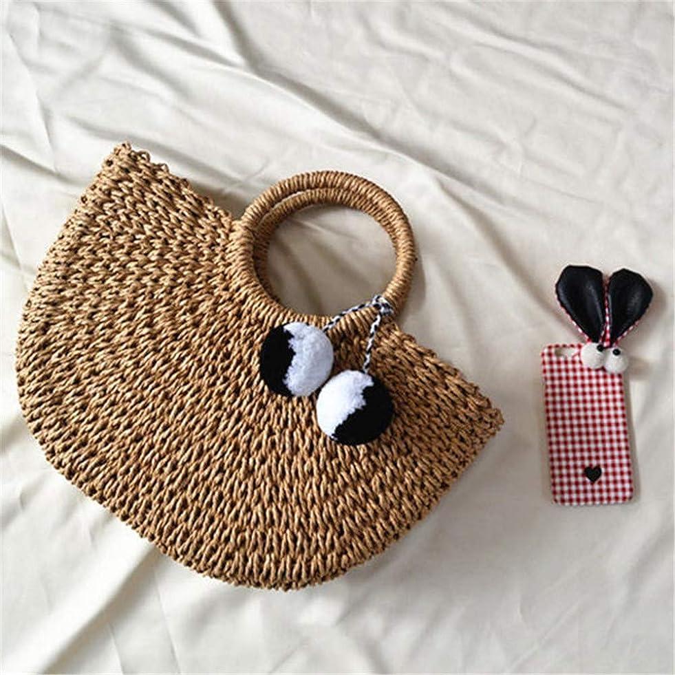 まばたきクロール提出するカゴバッグ 女性のビーチバッグカジュアルストローハンドバッグ織ぬいぐるみボールビーチバッグ (色 : 褐色, Size : L)