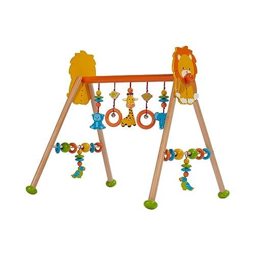 solini Le portique d'éveil «Jungle» en bois, réglable en hauteur centre d'activités, multicolore