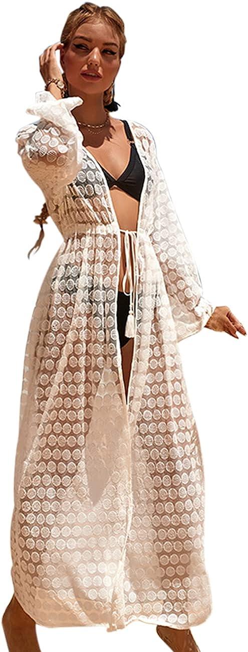 EDOLYNSA Women's Lace Kimono Cardigan Open Front Cover ups Sexy Sheer Nightgown