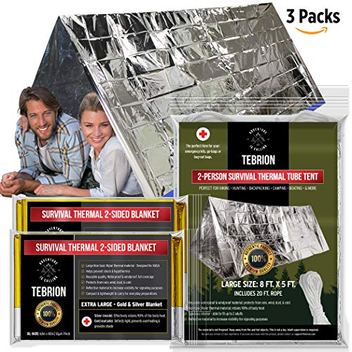 TEBRION Emergency 2-Adult Mylar Thermal Tent and 2 x Extra Large 63'x82' Mylar Blankets Set