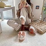 MLLM Zapatillas de casa Antideslizantes de Interior transpirablesZapatillas de Invierno con Lazo, Zapatillas de Interior Antideslizantes para niñas-Orange_38-39Zapatillas de Estar por casa con Forro
