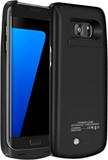 Galaxy S7 Edge Battery Case,Accerzone External Rechargeable Power Bank 5200mAh Protective Portable Slim Backup Charging Case with Kickstand for Samsung Galaxy S7 Edge(Not for S7) (Black)