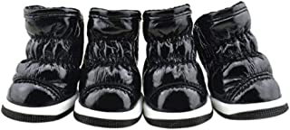 Winter Small Dogs Booties Ruffle Soft PU Leather Anti-Slip Sole Pet Snow Boots Suede Warm Pet Shoes