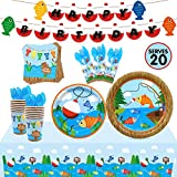 Gone Fishing Party Tableware Supplies Set Serves 20 Guests-Bobber Happy Birthday Banner,Plates, Cups,...