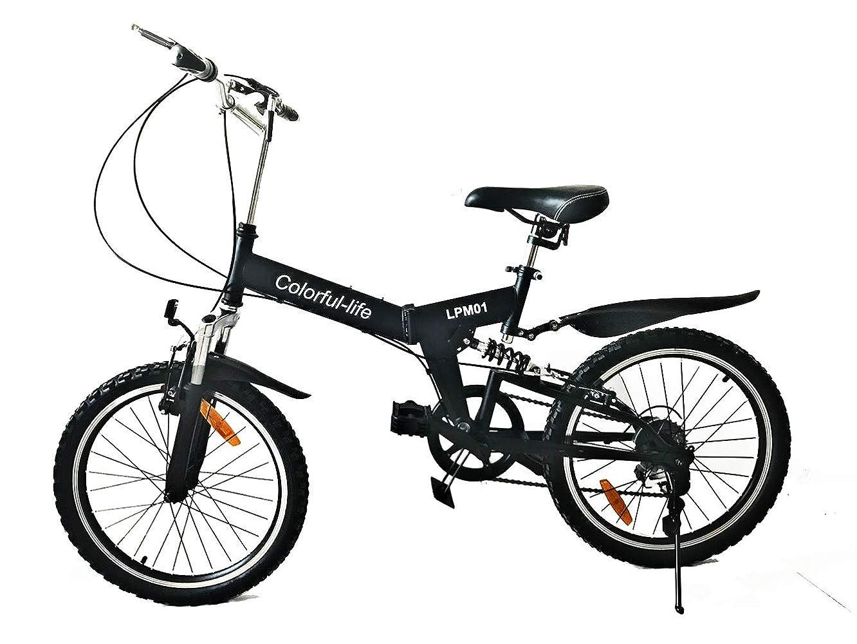 リボン未払い治世Colorful-life 20インチ ミニベロ 高炭素鋼 折り畳み自転車 SHIMANOディレイラー シマノ 6段変速 マウンテンバイク フロント&リアサスペンション 男女通用