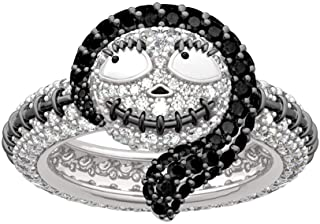 """JEULIA """"Sally from The Nightmare Before Christmas Fashion Rings 925 Sterling Silver Diamond Ring Bridal Set Wedding Engagement Anniversary Promise"""