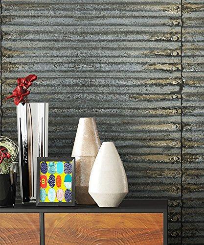 Metall Tapete Vliestapete Grau Edel, schöne edle Tapete im modernen Wellblech Design, moderne 3D Optik für Wohnzimmer Schlafzimmer od. Küche inkl. Newroom TapezierProfibroschüre mit super Tipps