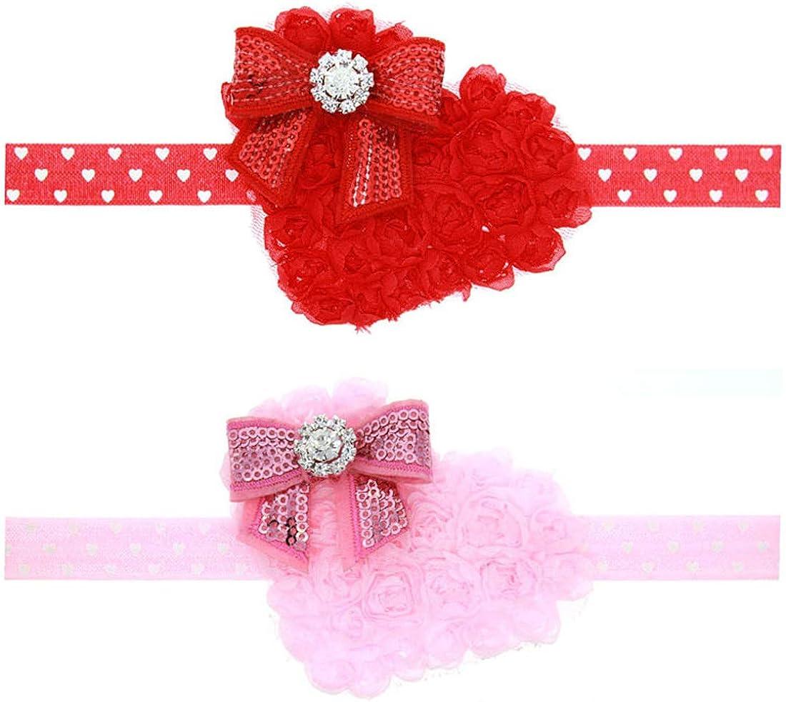 Baby Elastic Rose Heart Headband Rhinestone Headbands Valentine's Day TS-FD07