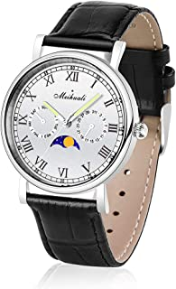 Men and Women's Quartz Watch, Meihuali Classic Fashion Analog Waterproof Wrist Watch with Date, Day/Moon Phase Leather Strap and Stainless Steel Case