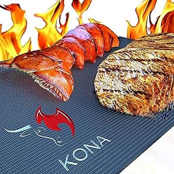 Kona Best BBQ Grill Mat - Heavy Duty 600 Degree Non-Stick Mats  Set of 2  - 7 Year Warranty