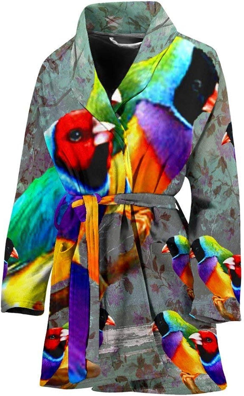 Deruj Gouldian Finch Bird Print Women's Bath Robe
