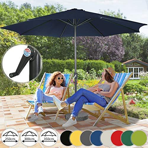 Sonnenschirm in Ø 2,5m / Ø 3m / Ø 3,5m - in Farbwahl aus Stahlrohr und Wasserabweisender Schirmbezug, mit Kurbel - Marktschirm, Gartenschirm, Terrassenschirm, Ampelschirm, Strandschirm, Sonnenschutz (Ø 3,5 m, Dunkelblau)
