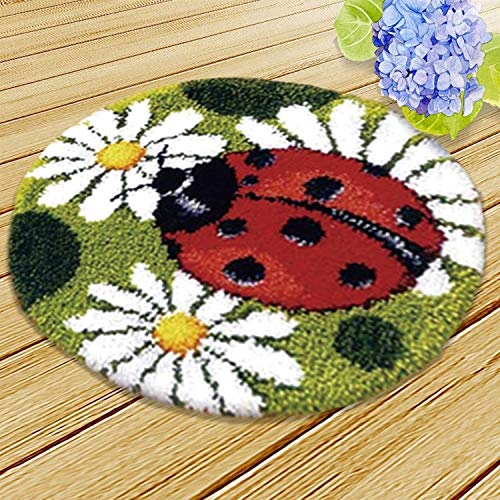 GLNB DIY Tools Crocheting Cushion Rug Latch Hook Kits Embroidery for Beginners (Ladybug) (Color : Ladybug)