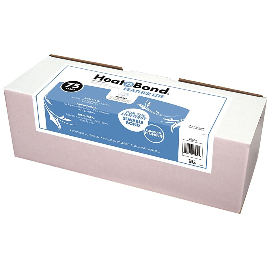 Thermoweb Heat'n Bond Feather Light Fusible, 17-Inch by 75-Yard, White
