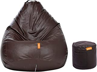 ORKA Classic XXL with Footstool Bean Bag Cover Without Beans - Brown