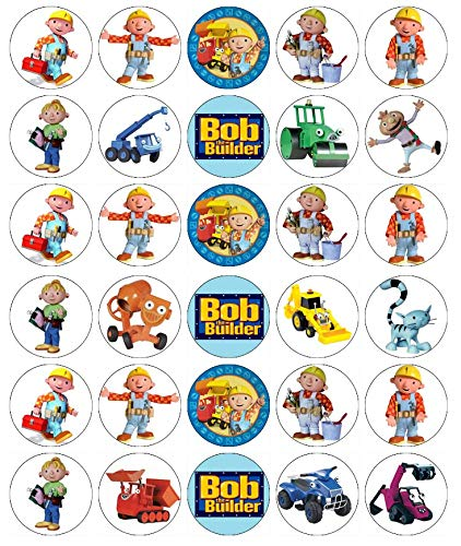 Cupcake-Topper Bob der Baumeister, essbares Oblatenpapier, Feenmotiv, 30 Stück