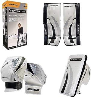 """PowerTek Barikad V2.0 Youth Ice Hockey Goalie Pad Set - 24"""" Leg Pads, Glove, Blocker"""